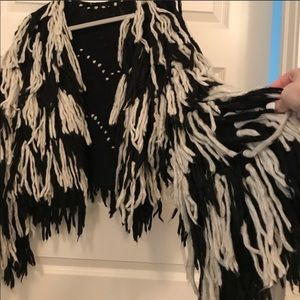 Indah Jackets & Coats - INDAH fringe jacket black and white festival